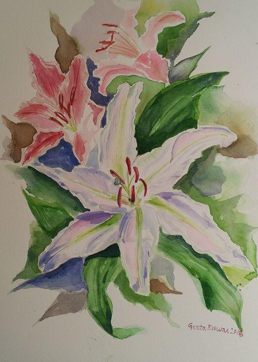 Lillies watercolor still life - GeetaBiswas
