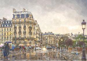 Paris Rain near Cafe Notre Dame