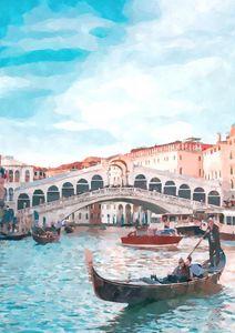 Venice Rialto Bridge by Midday