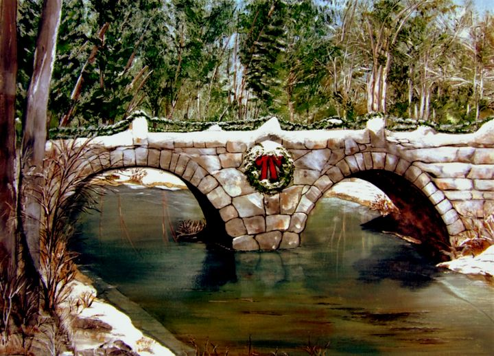 Stone-arched bridge, Hillsboro, NH - Under the Canopy Art by Jo Robbins