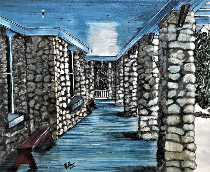 Highland Croft Stone Home - Under the Canopy Art by Jo Robbins