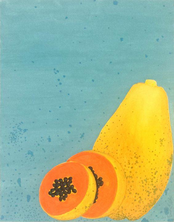 Summer Fruits Prints: Papaya - Llewellyn Design Studio: Tracy Llewellyn