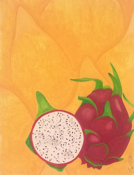Summer Fruits Prints: Dragon Fruit - Llewellyn Design Studio: Tracy Llewellyn