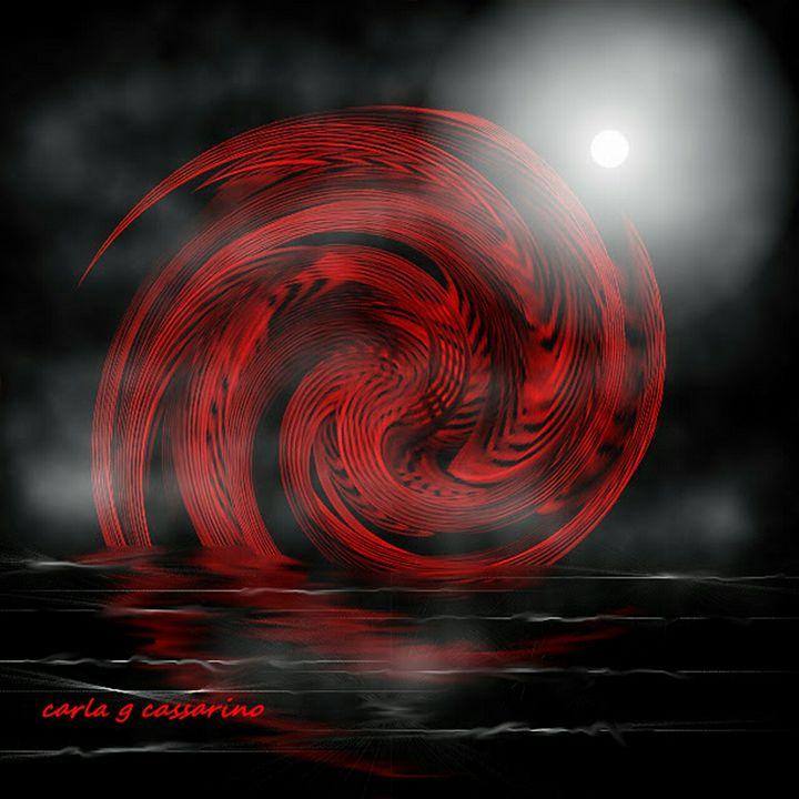 Red swirls meet the tide - Carla giovanna cassarino