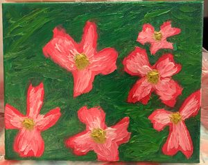 Abstract dogwood petals in oil
