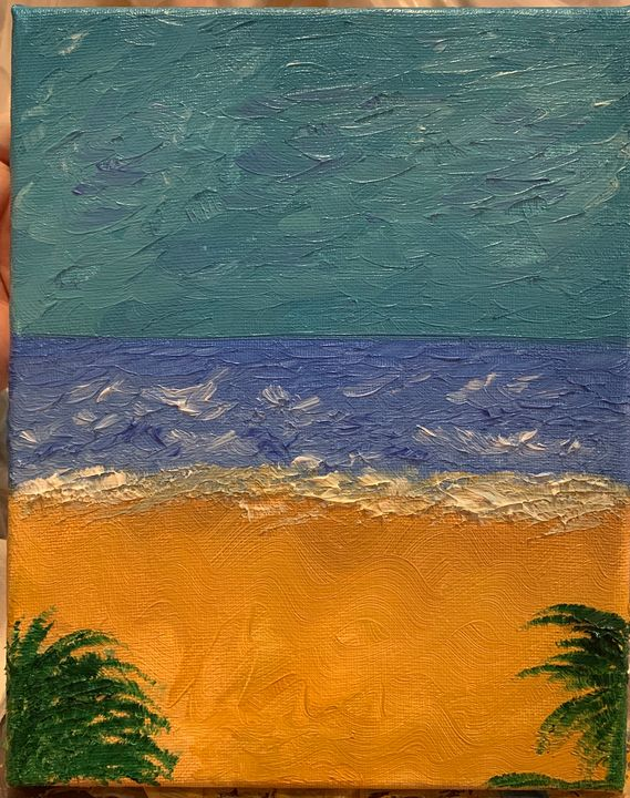 Beach and ocean scene painted in oil - AxeArts