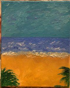 Beach and ocean scene painted in oil