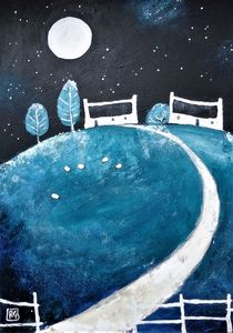 a blue hill in the moonlight