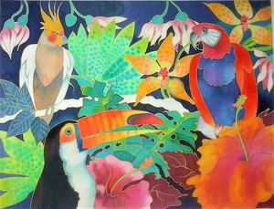 exotic birds in tropical setting