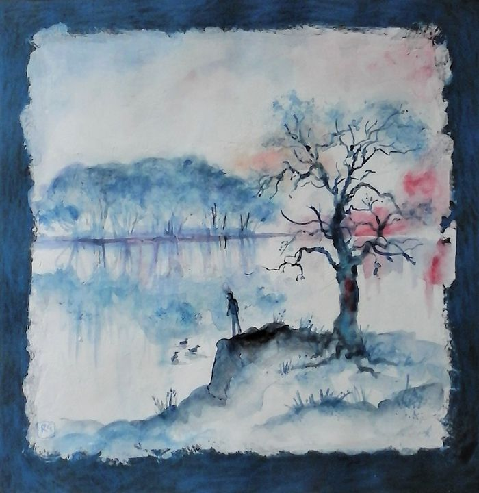 landscape in blues, trees and water - galleroa