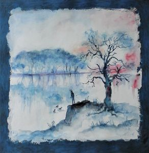 landscape in blues, trees and water