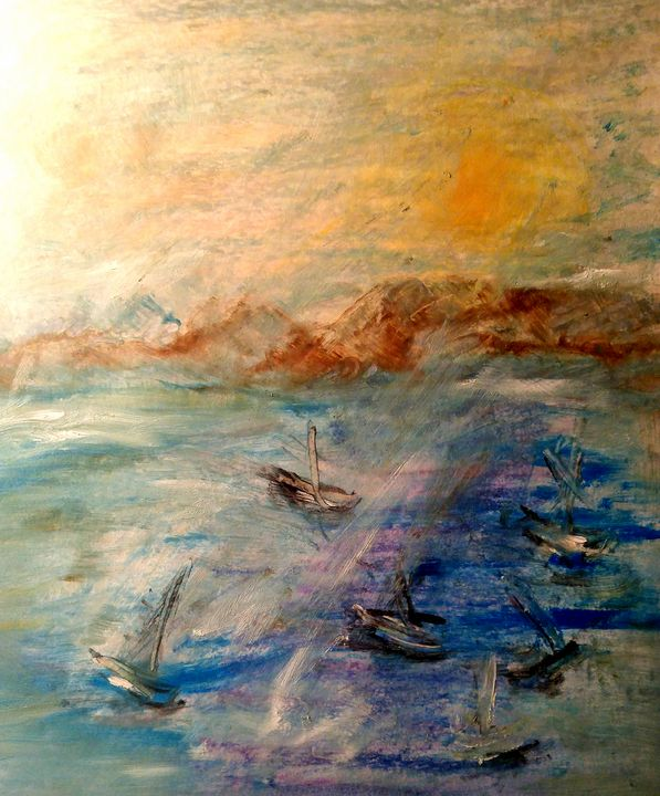 Battleship (oil pastel on paper) - CS art