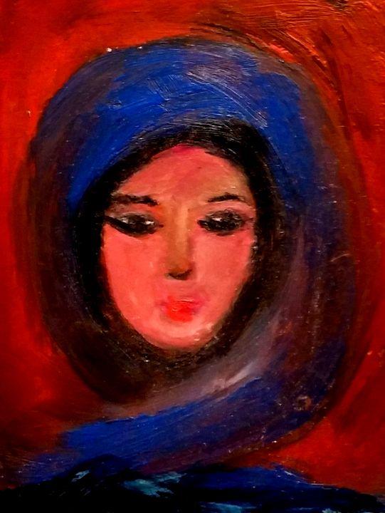 Girl with blue scarf - CS art