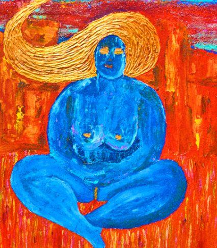 Blue Goddess in Red Grass by Labro - Labro Artorium