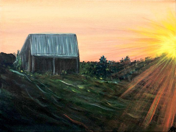Barn Sunset - True Vine Art Design