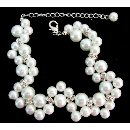 Bridal Bracelet Twisted White Pearl - Handcrafted jewelry FashionJewelryForEveryone.com