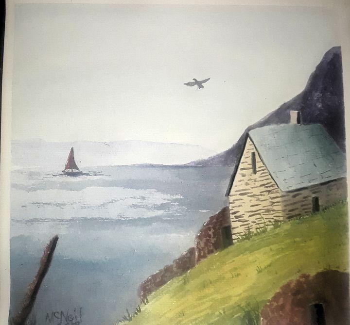 House on the hillside - Larry McNeil Art