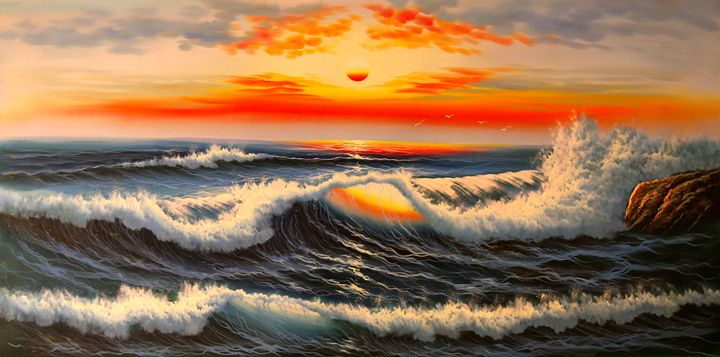 Sunset on the Ocean - Tiger's Art Shop