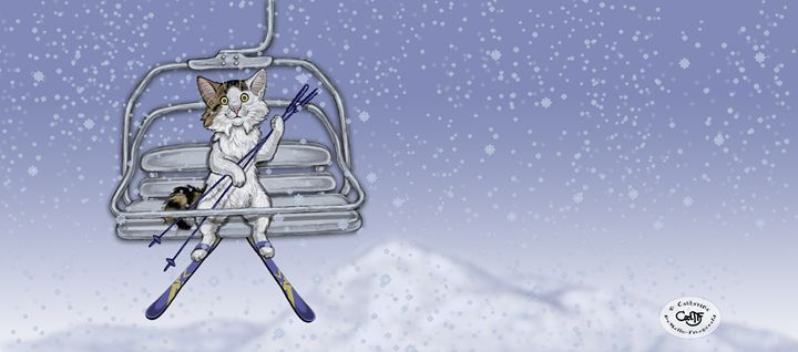 Wendell on the Ski Lift - Illustration by Cat