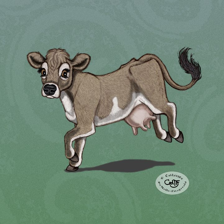 Jersey Cow - Illustration by Cat