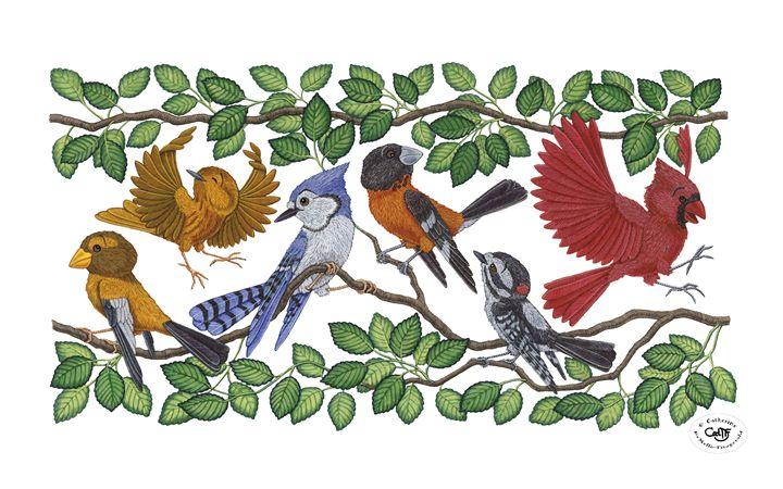 Bird Gathering - Illustration by Cat