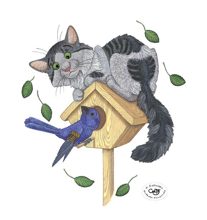 Kitty & Bluebird - Illustration by Cat