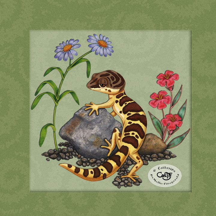The Lazy Gecko - with green frame - Illustration by Cat