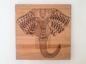 Tribal wood burned elephant wall art