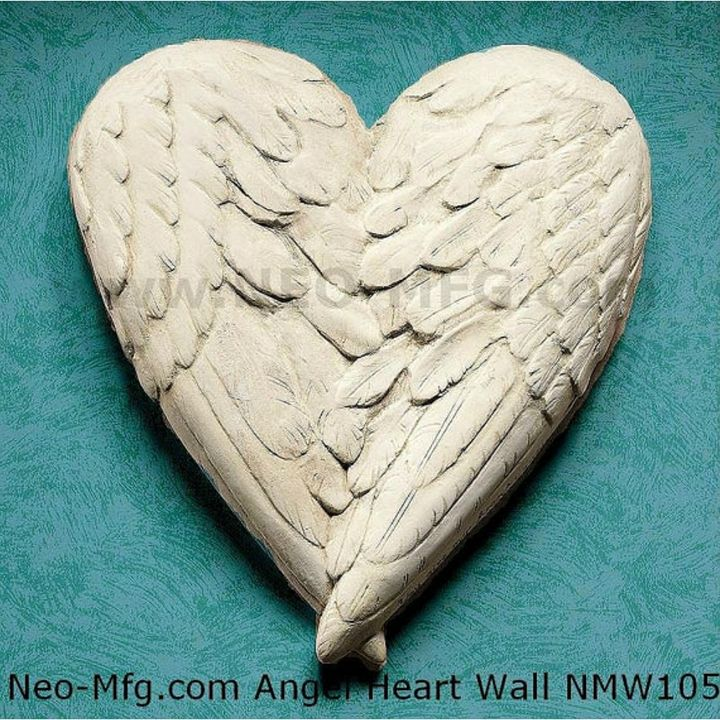 "Angel Wings HEART wall sculpture 10"" - www.NEO-MFG.com"