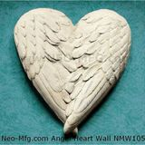 Angel Wings HEART wall sculpture 10""