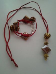 Red leather bracelet and necklace