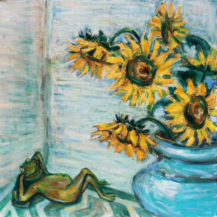 Sunflowers And Frog - Art by Xueling Zou