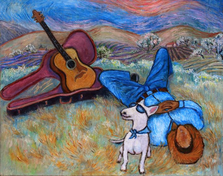 Guitar Doggy And Me In Wine Country - Art by Xueling Zou