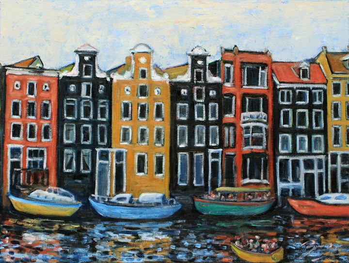 Boats In Front Of The Buildings VI - Art by Xueling Zou