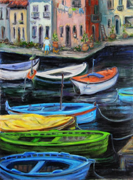 Boats In Front Of The Buildings II - Art by Xueling Zou