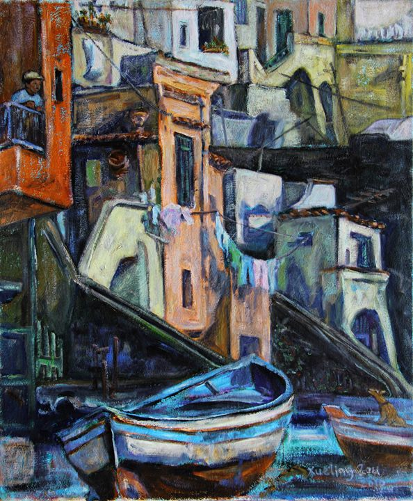 Boats In Front Of The Buildings I - Art by Xueling Zou