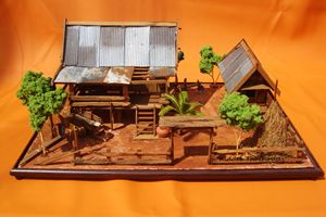 Thai house wooden model - Zinc roof