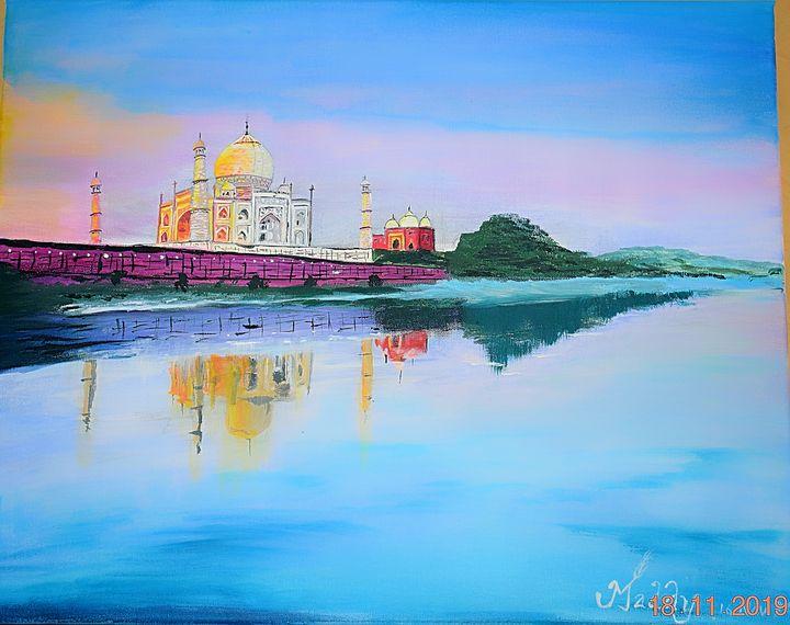 Beauty of Taj Mahal - Acrylic Painting Original