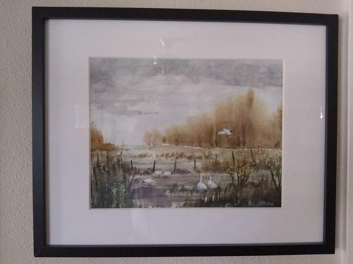 Snow Geese - Original Watercolor by Ken Moore