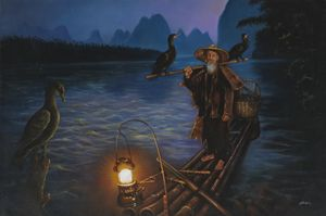 Cormorant Fisherman in Guangxi,China