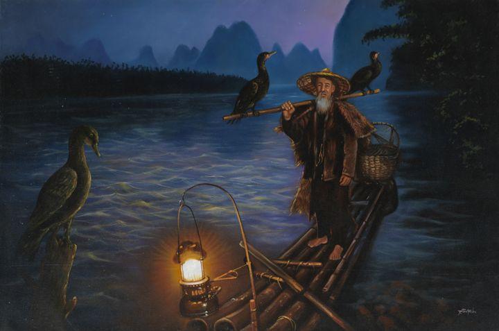 Cormorant Fisherman in Guangxi,China - Geronimo's Paintings