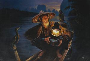 Cormorant Fisherman in China - Geronimo's Paintings