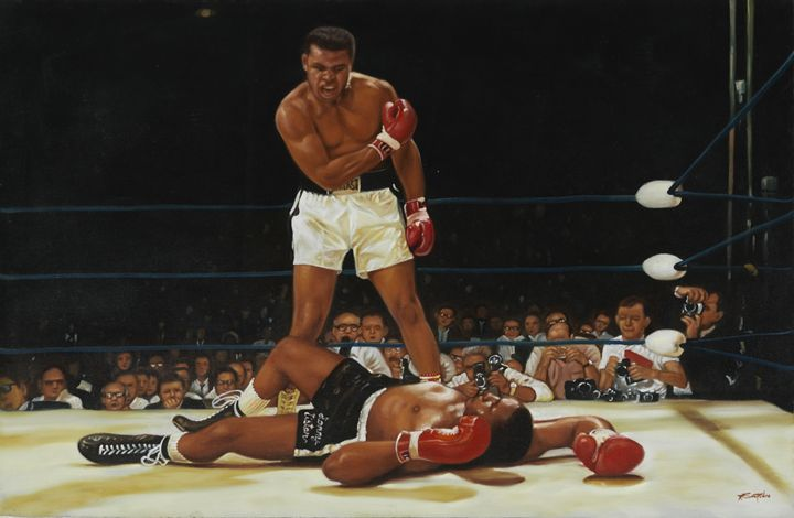 Muhammad Ali fighting in 1965 - Geronimo's Paintings