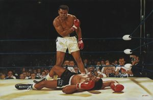 Muhammad Ali fighting in 1965 - Geronimo's Paintings