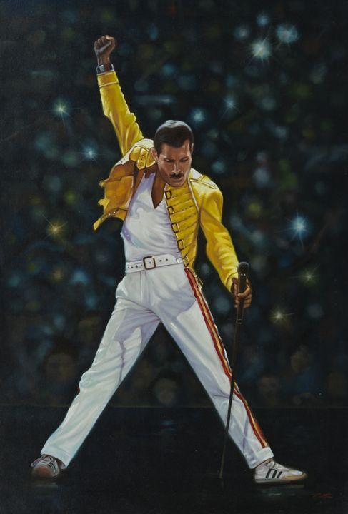 Freddie Mercury of Queen on stage - Geronimo's Paintings