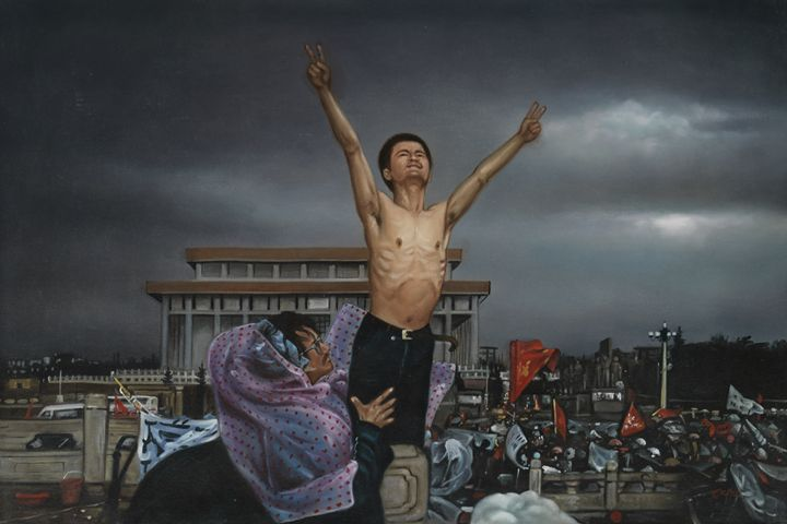 Chinese Students on Tiananmen Square - Geronimo's Paintings