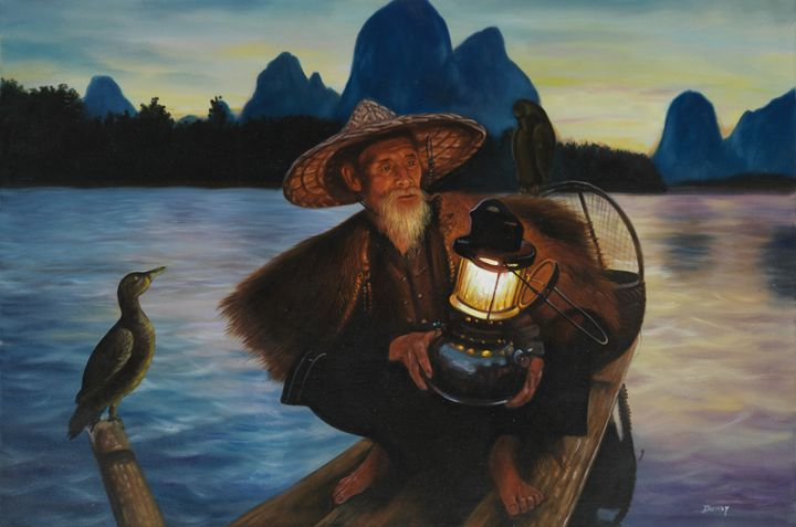Fisherman in China - Geronimo's Paintings