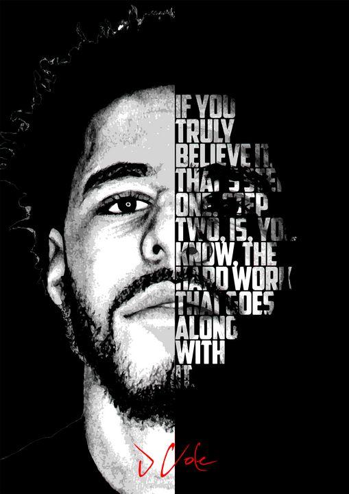 J Cole hip hop quote poster - Enea Kelo