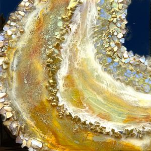 Yellow Agate Slice Resin Painting