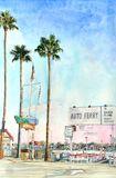 Balboa Auto Ferry Watercolor